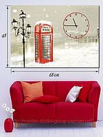 Картина с часами, 68х48см, Телефонная Будка, Киев