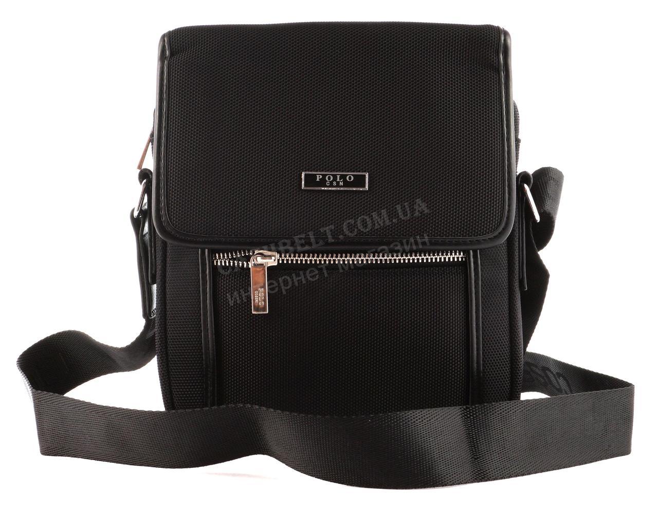 Очень прочная тканевая мужская небольшая наплечная сумка POLO art. 665-3 черная
