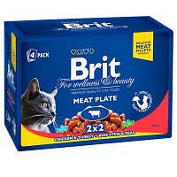 Brit Premium (Брит Премиум) Cat MEAT PLATE - Мясная тарелка - набор влажных кормов для кошек (4 шт. х 100 г)