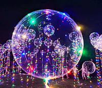 Сетодиодный светящийся прозрачный воздушный шар 45 см, работает на батарейке, разноцветный цвет + насос