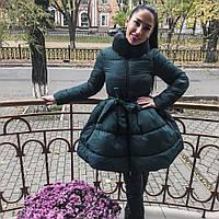 Элегантное зимнее пальто с расклешенным низом, наполнитель холлофайбер, цвет бутылка