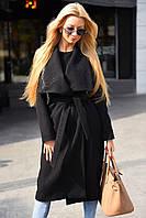 Женское кашемировое прямое пальто под пояс