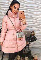 Элегантное зимнее пальто с расклешенным низом, наполнитель холлофайбер, цвет розовый