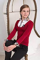 Блузка-обманка для школы бордовая