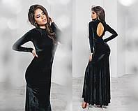 Черное бархатное платье в пол с вырезом на спине тк2015