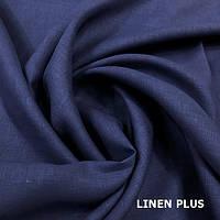 Синяя льняная ткань 100% лен, цвет 1355