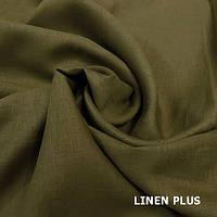 Оливковая льняная ткань 100% лен, цвет 1389