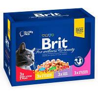 Brit Premium Cat FAMILY PLATE - Семейная тарелка 4 вкуса - набор влажных кормов для кошек,1,2кг