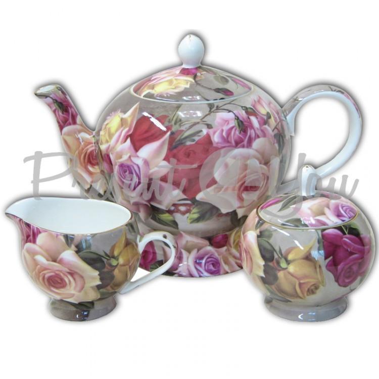 Чайный набор «Букет роз»: чайник, сахарница и молочник