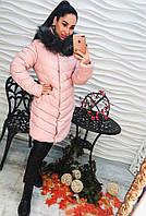 Удлиненное зимнее пальто наполнитель холлофайбер с брошкой, цвет пудра