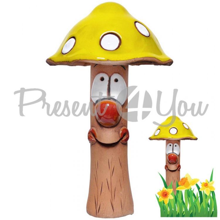 Фигура декор для сада «Гриб желтый» h-20 см.