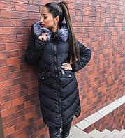 Удлиненное зимнее пальто наполнитель холлофайбер с капюшоном, мех искусственный съемный, цвет черный