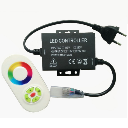 Контролер 220V RGB для світлодіодної стрічки 220B 1500W-радіо-5. 100 метрів.