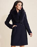 Женское зимнее пальто классика с мехом песец