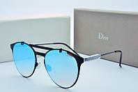 Женские солнцезащитные очки круглые Dior голубые