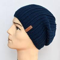 Зимняя шапка для мальчика на флисе Лондон, темно-синий (ОГ 55-57)