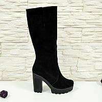 Стильные женские замшевые черные сапоги, демисезонные. 37 размер