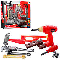 Детский набор инструментов 6613 (дрель механическая,гаечный ключ,отвертка,плоскогубцы)