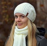 Зимняя шапка для девочки на флисе Лондон, молоко (ОГ 55-57)