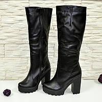 Стильные женские кожаные черные сапоги, зимние. 36 размер