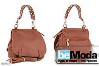 Модная и очень удобная женская сумка с качественной эко-кожи оригинального фасона и стильной ручкой коричневая