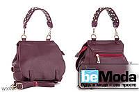Необычная и очень удобная женская сумка с качественной эко-кожи оригинального фасона и стильной ручкой красная