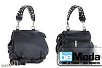 Необычная и очень удобная женская сумка с качественной эко-кожи оригинального фасона и стильной ручкой черная