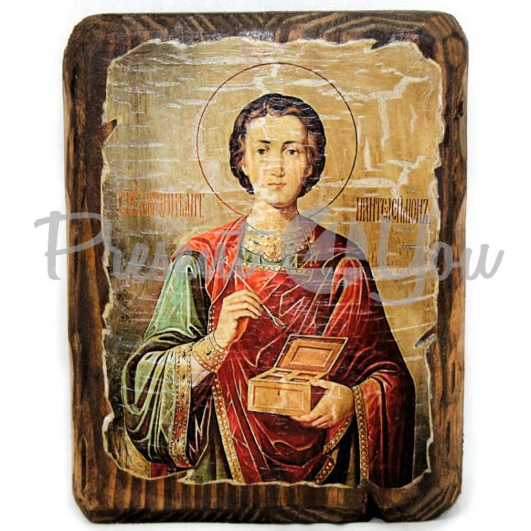 Деревянная икона Целитель Пантелеймон , 17х13 см (814-1012)