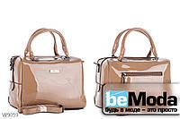 Очень красивая каркасная сумка с качественного эко-лака офисного фасона цвета хаки