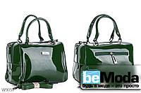 Очень красивая каркасная сумка с качественного эко-лака офисного фасона зеленая