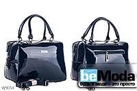 Очень красивая каркасная сумка с качественного эко-лака офисного фасона синяя