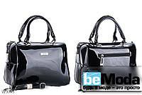 Очень красивая каркасная сумка с качественного эко-лака офисного фасона черная