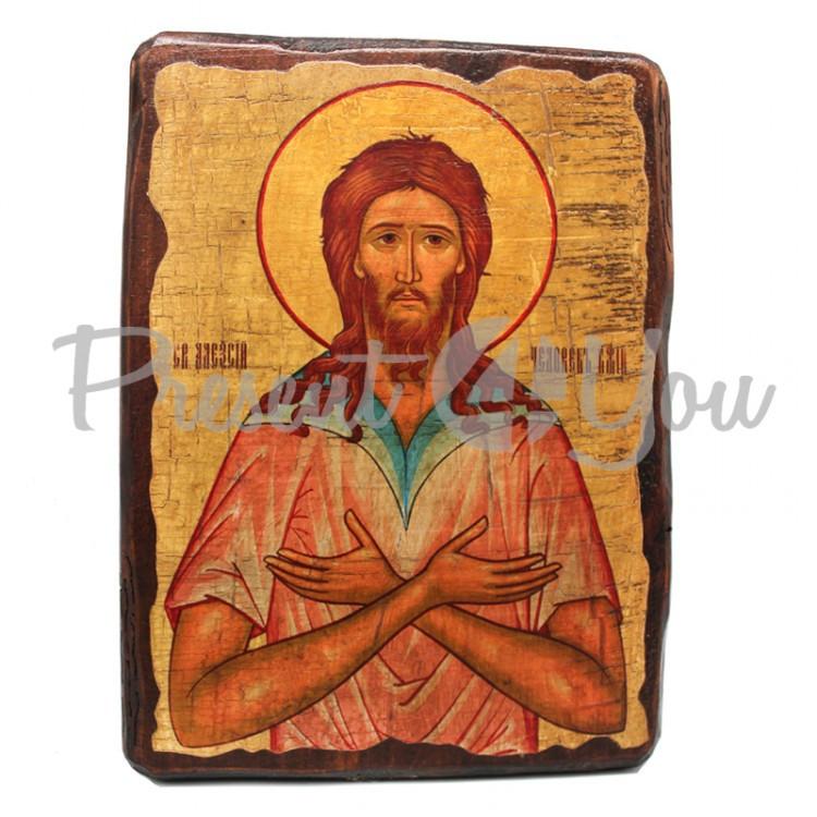 Деревянная икона Святой преподобный Алексий, человек Божий, 17х23 см (814-2042)