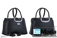 Стильная женская сумка из качественной эко-кожи офисного фасона с металлическим декором на ручках черная