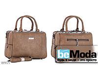 Привлекательная каркасная женская сумка из качественной эко-кожи оригинального фасона цвета хаки