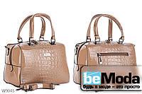 Модная высококачественная женская сумка с оригинальными вставками под кожу рептилии цвета хаки