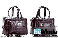 Модная высококачественная женская сумка с оригинальными вставками под кожу рептилии цвета красного вина