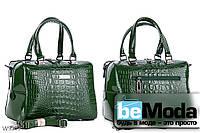 Модная высококачественная женская сумка с оригинальными вставками под кожу рептилии зеленая