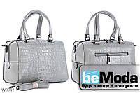 Модная высококачественная женская сумка с оригинальными вставками под кожу рептилии серая