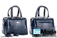 Модная высококачественная женская сумка с оригинальными вставками под кожу рептилии синяя