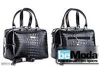Модная высококачественная женская сумка с оригинальными вставками под кожу рептилии черная