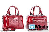 Модная высококачественная женская сумка с оригинальными вставками под кожу рептилии красная