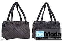 Стильная женская сумка из качественного текстиля с оригинальной прострочкой коричневого цвета