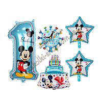"""Фольгированные воздушные шары набор из 5 шаров,  Микки Маус, цифра """"1"""", размер 32 дюймов/72 см 1 штука, звезда"""