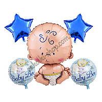 Фольгированные воздушные шары набор из 5 шаров,  Малыш 32 дюйма/70 см 1 штука, звезда синяя 18 дюймов/45 см 2