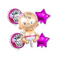 Фольгированные воздушные шары набор из 5 шаров,  Малышка 32 дюйма/70 см 1 штука, розовая звезда 18 дюймов/45 с