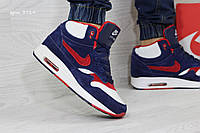 Зимние кроссовки Nike Air Max 90 ,синие с красным