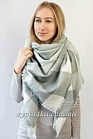Большой платок Джерси, серый с белым 140 см