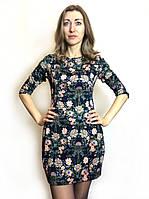 Платье-туника трикотажная в цветочек П168