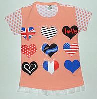 Модная туника для девочек 'Flag' 5,7,9,11,13 лет